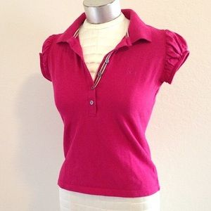 Burberry cotton pique polo w puff sleeves Petite S